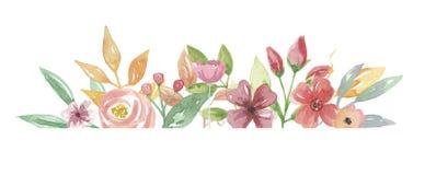 Линия покрашенная рукой рамка лета цветка акварели флористической Стоковая Фотография