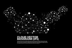 Линия полигона концепции вычислительной цепи облака соединенная точкой: Концепция сервера, хранения и данных по облака Стоковое Изображение RF