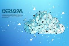 Линия полигона концепции вычислительной цепи облака соединенная точкой: Концепция сервера, хранения и данных по облака Стоковая Фотография RF