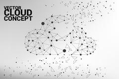 Линия полигона концепции вычислительной цепи облака соединенная точкой: Концепция сервера, хранения и данных по облака Стоковые Фото