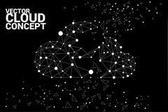 Линия полигона концепции вычислительной цепи облака соединенная точкой: Концепция сервера, хранения и данных по облака Стоковое Изображение