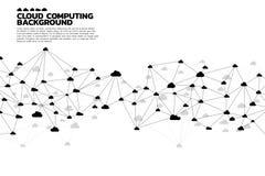 Линия полигона концепции вычислительной цепи облака соединенная точкой: Концепция сервера, хранения и данных по облака Стоковая Фотография