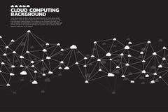 Линия полигона концепции вычислительной цепи облака соединенная точкой: Концепция сервера, хранения и данных по облака Стоковые Фотографии RF
