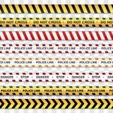 Линия полиции и не пересекает, предостеречь линии предупреждающие ленты Знаки опасности изолированные на прозрачной предпосылке иллюстрация вектора