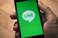 Линия популярное приложение обмена сообщениями в Таиланде Стоковое Изображение