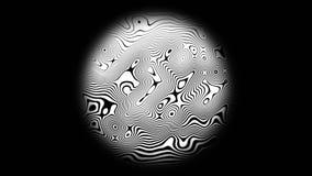 Линия предпосылка зебры анимации движения текстуры картины полутонового изображения 4K На черной предпосылке, в круге акции видеоматериалы
