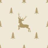 Линия плитка северного оленя рождества безшовная картины иллюстрация штока
