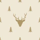 Линия плитка северного оленя рождества безшовная картины Стоковая Фотография