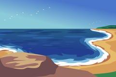 Линия пляжа ландшафта с верхней частью  Стоковое Изображение