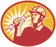 линия работник молнии электрика болта силы Стоковая Фотография