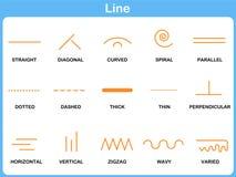 Линия рабочее лист склонности для детей иллюстрация штока