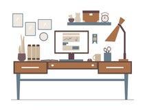 Линия рабочее место в плоском интерьере стиля иллюстрация плана Стоковые Фотографии RF