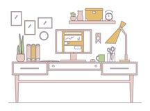 Линия рабочее место в плоском интерьере стиля Стоковое Изображение RF