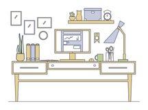 Линия рабочее место искусства в плоском стиле Стоковые Изображения