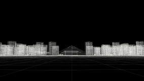 Линия рамка неба города провода иллюстрация вектора