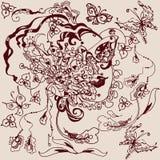Линия расцветка чертежа с масленицей и мотивами карточки Стоковые Изображения