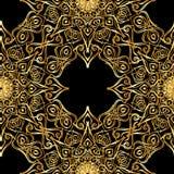 Линия роскошная безшовная картина золота с абстрактным элементом золота Иллюстрация штока