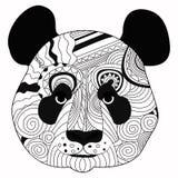Линия рука искусства рисуя черную панду изолированную на белой предпосылке Стиль Dudling Tatoo Zenart Расцветка для взрослых Стоковая Фотография RF