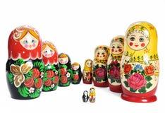 линия русский куклы matreshka Стоковые Фотографии RF