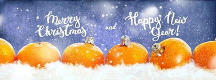Линия синь строки Tangerines Нового Года Стоковая Фотография