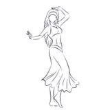 Линия силуэт молодой женщины показывая танец живота иллюстрация вектора