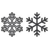 Линия снежинки и значок глифа, Новый Год иллюстрация штока