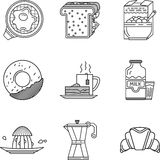 Линия собрание завтрака черная значков Стоковые Изображения
