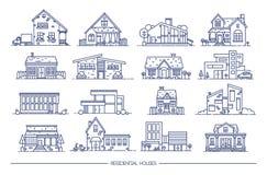 Линия собрание дома искусства жилое Комплект плоского стиля Иллюстрация вектора контура Стоковые Изображения RF