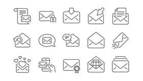 Линия сообщения значки почты Информационый бюллетень, электронная почта, корреспонденция Линейный комплект значка вектор бесплатная иллюстрация