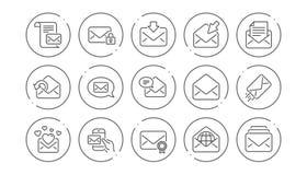 Линия сообщения значки почты Информационый бюллетень, электронная почта, корреспонденция Линейный комплект значка вектор иллюстрация вектора