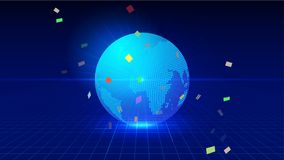 Линия состав пункта карты Worl представляя смысл соединения глобальной вычислительной сети международный Стоковое Изображение