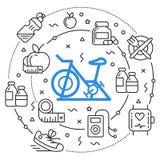 Линия спорт фитнеса иллюстрации круга плоский Стоковое фото RF