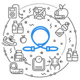 Линия спорт фитнеса иллюстрации круга плоский Стоковое Изображение