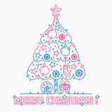 Линия стиль рождественской елки искусства иллюстрация вектора