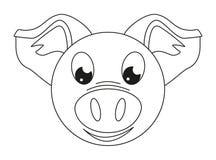 Линия сторона свиньи искусства черно-белая иллюстрация вектора