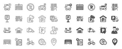 Линия стоянки значки Установите холопки гаража, слуги и оплаченной стоянки r бесплатная иллюстрация