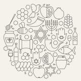 Линия сформированный циркуляр праздника Rosh Hashanah установленный значками Стоковые Фото