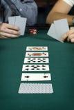 линия таблица карточек покера вверх Стоковое Изображение RF