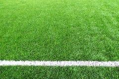 Линия текстура травы стадиона футбольного поля футбола предпосылки шарика Стоковые Фотографии RF