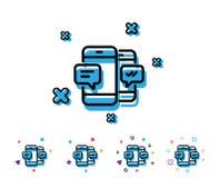 Линия телефонного сообщения значок Передвижной знак болтовни иллюстрация вектора