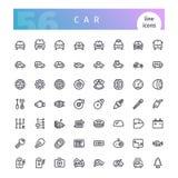 Линия установленные значки автомобиля иллюстрация штока