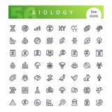 Линия установленные значки биологии бесплатная иллюстрация