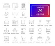 Линия установленные значки Пакет мебели стоковые фотографии rf