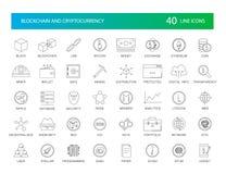 Линия установленные значки Пакет Blockchain и Cryptocurrency бесплатная иллюстрация