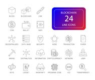 Линия установленные значки Пакет Blockchain стоковое изображение rf