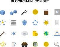 Линия установленные значки Пакет Blockchain иллюстрация вектора