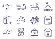 Линия установленные значки простой поставки мира груза логистическая иллюстрация плана стоковое фото