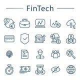 Линия установленные значки Fintech Иллюстрация вектора для онлайн-банкингов стоковая фотография