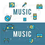 Линия установленная значками дизайн музыки иллюстрация вектора