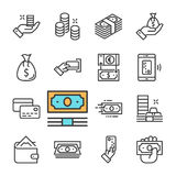 Линия установленные значки вектора черная денег Бумажник, ATM, рука с деньгами, монетками, карточкой банка Стоковые Изображения RF